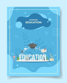 Aprendendo o conceito de educação pessoas ao redor da palavra educação boné chapéu livro calculadora microscópio para modelo