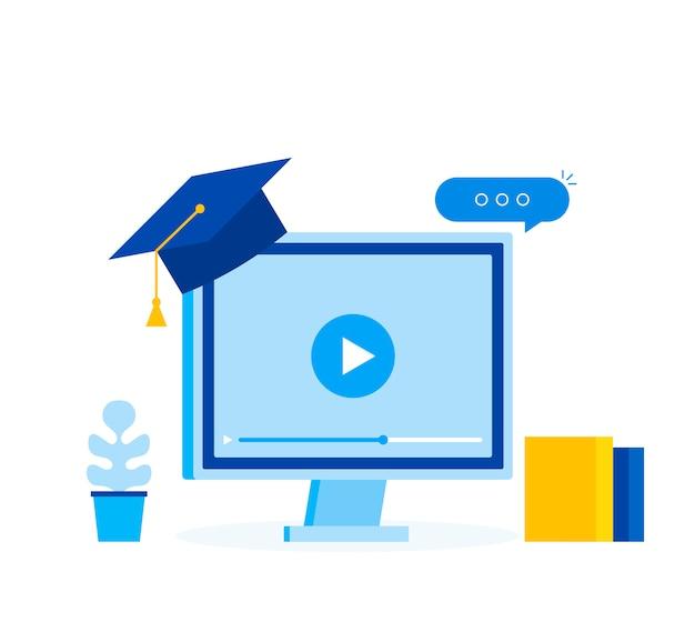 Aprendendo o conceito de negócio on-line, banner de web modelo educação on-line.