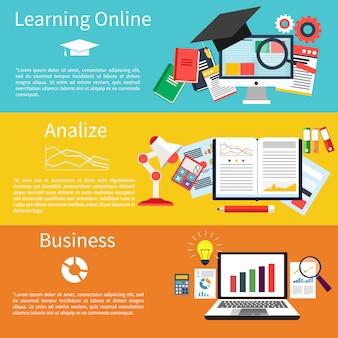 Aprendendo on-line, analisar e negócios