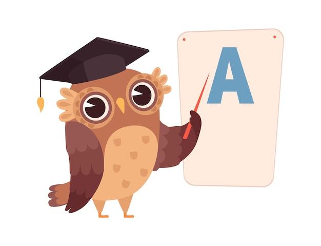 Aprender letras. coruja em cartaz com a letra a, personagem de pássaro noturno isolado. ilustração do vetor de treinamento e educação. formação de professores na escola, ensino de pássaros corujas