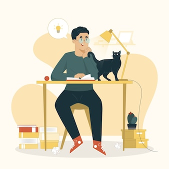Aprender o conceito de um homem lendo uma ilustração de livro