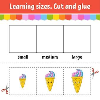 Aprender tamanhos cortar e colar