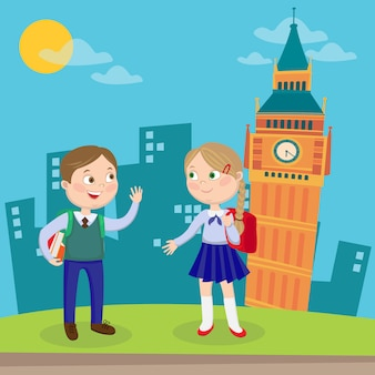 Aprendizado de língua inglesa. crianças felizes de férias em londres.