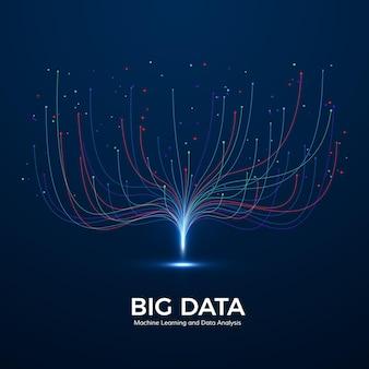 Aprendizado de máquina de big data e análise de dados. visualização de tecnologia digital. linhas de ponto e conexão. análise de fluxo de dados e processamento de informações.