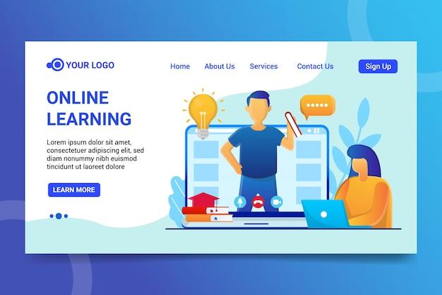 Aprendizado on-line, processo de aprendizado pela internet, assistindo a vídeos educativos. página de destino do modelo para o site premium