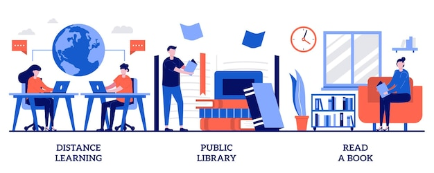 Aprendizagem à distância, biblioteca pública, leitura de um conceito de livro com pessoas minúsculas. conjunto de aprendizagem fora do campus. aprendizagem, tutoria e workshop fora do campus, download de e-book, metáfora do dever de casa