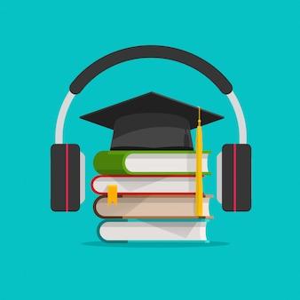 Aprendizagem de áudio eletrônico ou estudo online via fones