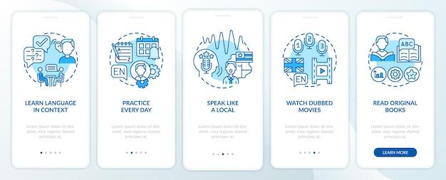 Aprendizagem de conselhos de idiomas tela de página de aplicativo móvel de integração com conceitos. linguagem no contexto, etapas passo a passo das legendas. ilustrações do modelo de interface do usuário