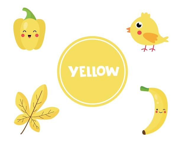 Aprendizagem de cores primárias para crianças. bonitas fotos na cor amarela. jogo educativo para crianças. páginas de atividades para educação domiciliar. praticar cores.