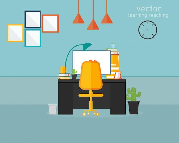 Aprendizagem de escritório e ensino de ilustração vetorial