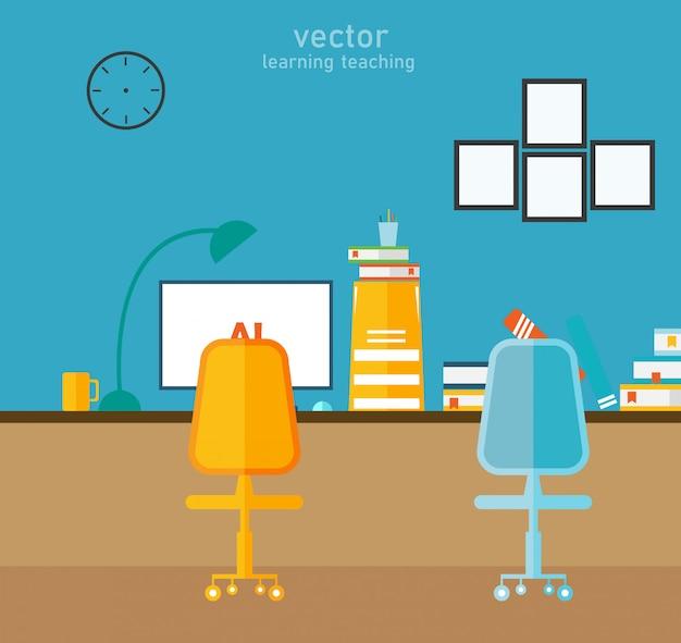 Aprendizagem de escritório e usando uma ilustração do vetor de design