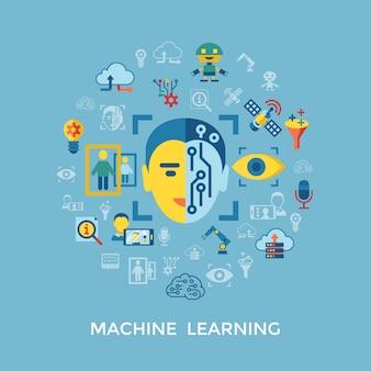 Aprendizagem de máquina e coleção de ícones de inteligência artificial