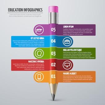Aprendizagem de negócios e educação escolar vector infográfico modelo com lápis e opções