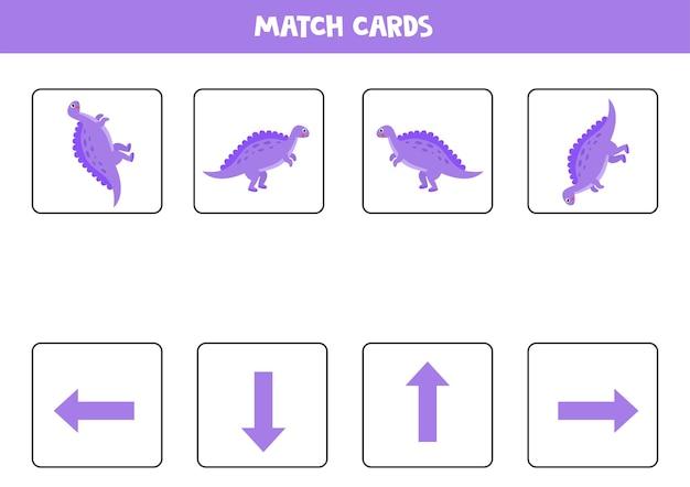 Aprendizagem direita, esquerda, cima, baixo com dinossauro fofo. jogo lógico educativo para crianças.