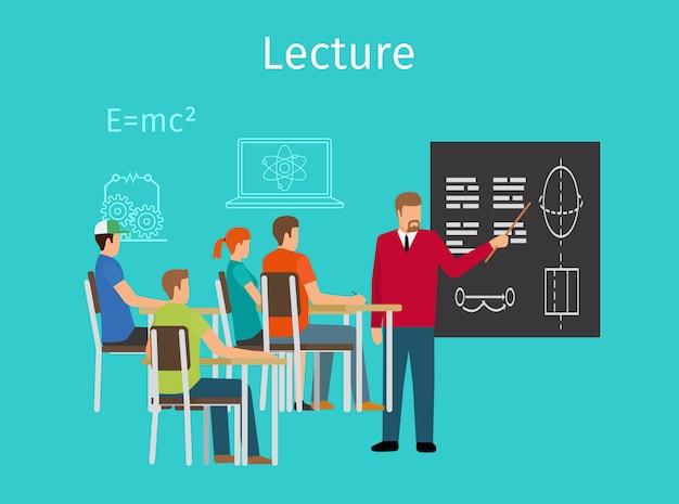 Aprendizagem do conceito de educação e ícone de palestras