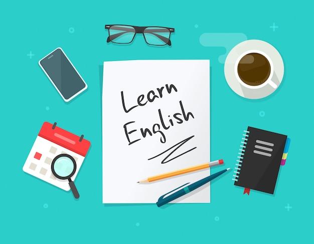 Aprendizagem mesa de trabalho mesa e educação no local de trabalho com estudo idioma inglês folha de papel documento texto plana dos desenhos animados leigos vista superior