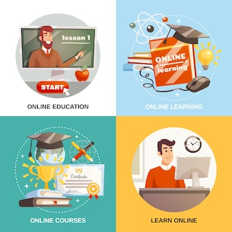 Aprendizagem on-line 2x2 design concept
