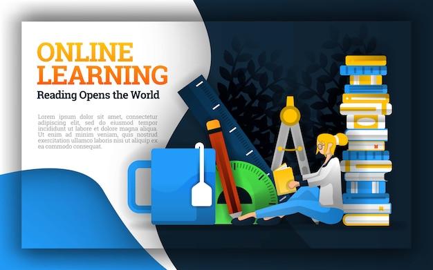Aprendizagem on-line com ilustrações de estudantes rodeados por artigos de papelaria