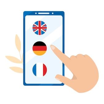 Aprendizagem on-line de língua estrangeira. alemão, inglês, francês