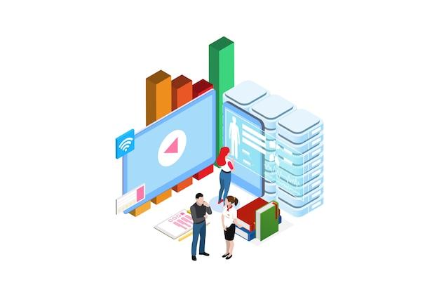 Aprendizagem on-line moderna baseada em tecnologia isométrica smart cloud moderna