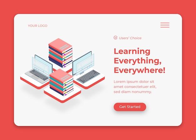 Aprendizagem online em casa com laptop e livros isométricos