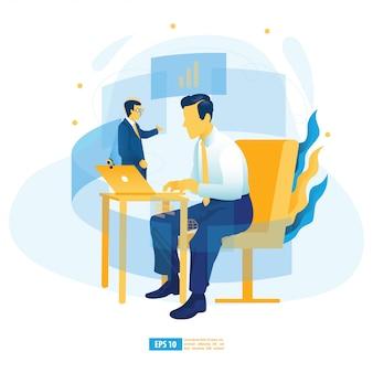 Aprendizagem virtual, treinamento digital on-line, e-learning com ia, educação on-line e ilustração do conceito de e-book
