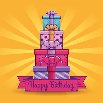 Apresenta presentes com decoração de fita para o aniversário