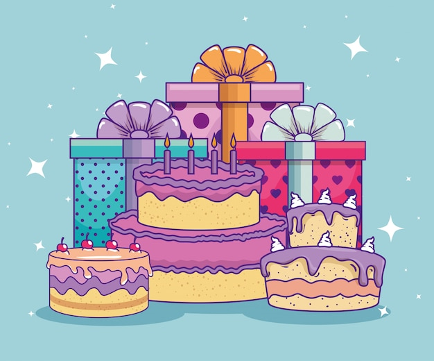 Apresenta presentes com laço de fita e bolo de aniversário