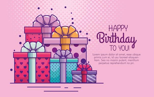 Apresenta presentes com laço de fita para aniversário