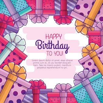 Apresenta presentes com laço de fita para comemorar aniversário