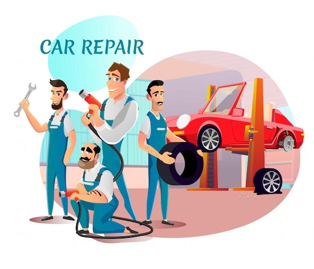 Apresentação da equipe profissional do serviço de reparação de automóveis