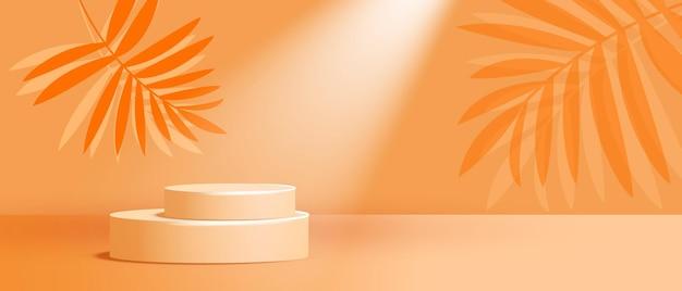 Apresentação da marca e embalagem do pódio do produto cosmético com folhas verdes de palmeira tropical