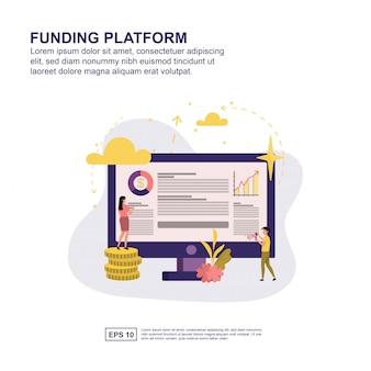 Apresentação da plataforma de financiamento, promoção de mídia social, banner