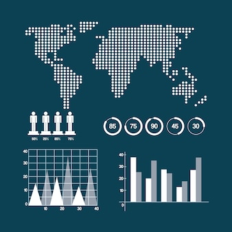 Apresentação das estatísticas demográficas infográficas do mapa mundial