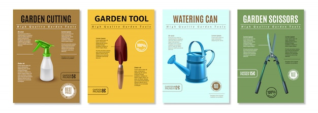 Apresentação de acessórios de ferramentas de jardim banners de cartazes de propaganda realista conjunto com tesouras de poda, equipamento de rega