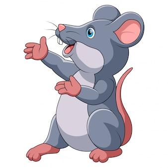 Apresentação de desenhos animados de rato bonitinho