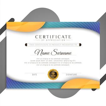Apresentação de design elegante certificado abstrata