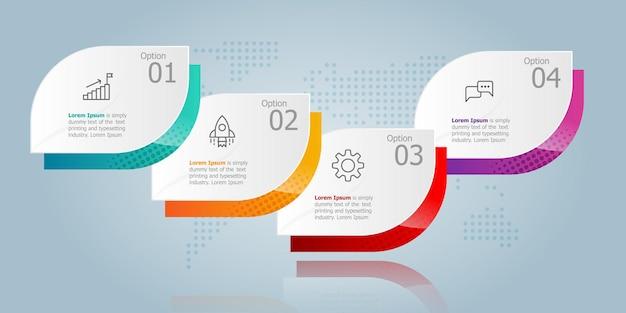 Apresentação de elemento infográfico horizontal com ícones de negócios 4 etapas de fundo de ilustração vetorial