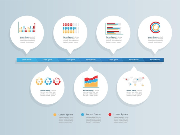 Apresentação de elementos de estatísticas de infográficos de cronograma horizontal abstrato ilustração vetorial