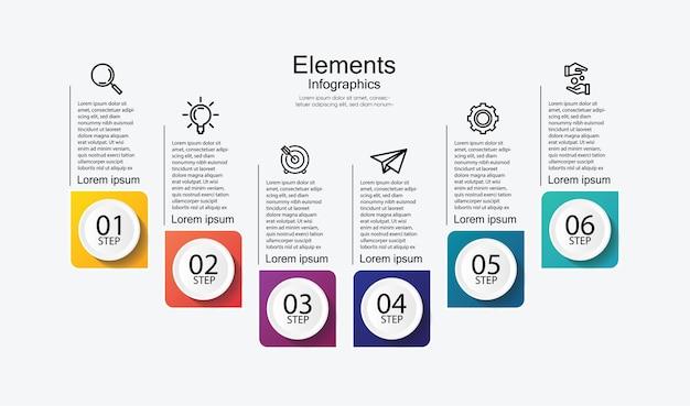 Apresentação de elementos infográfico colorido com 6 etapas