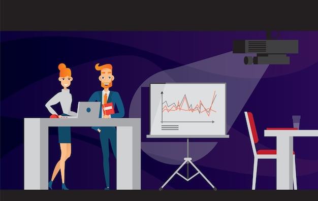 Apresentação de escritório com conjunto plano de quadro de gráfico