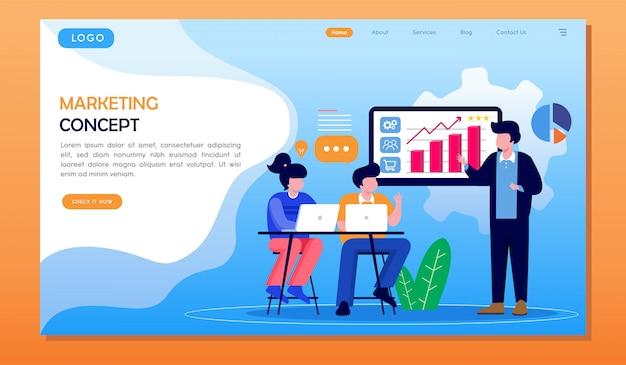 Apresentação de estratégia de conceito de marketing com a página de destino do site da equipe