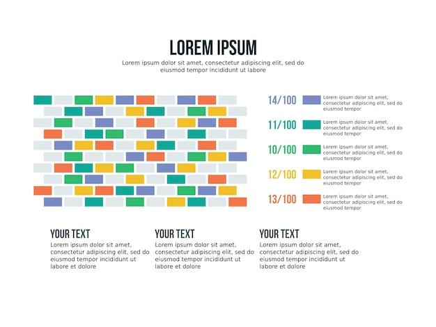 Apresentação de fundo de tijolos gráfico de infografia de negócios e estatísticas de slides