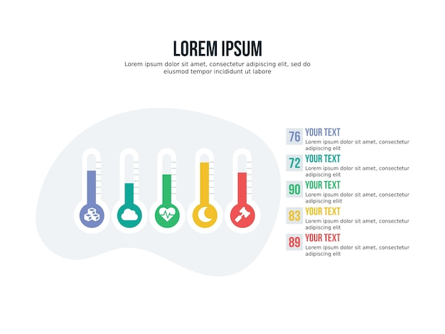 Apresentação de fundo do termómetro infográfico e estatística slide