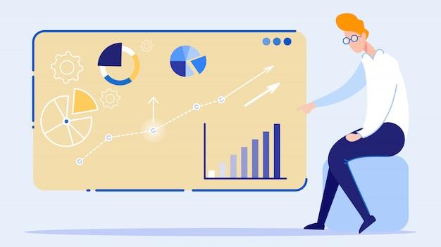 Apresentação de gráfico crescente de negócios a bordo