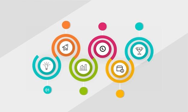 Apresentação de ícones de infográfico de negócios com seis etapas