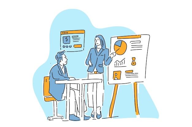 Apresentação de ilustração de progresso de negócios desenho manual