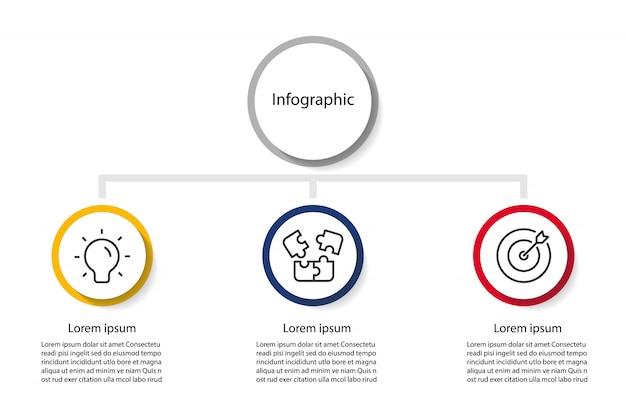 Apresentação de infográfico 3 etapas, círculo linear de infográfico