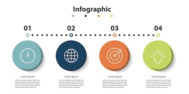 Apresentação de infográfico 5 etapas, infográfico linear bolha