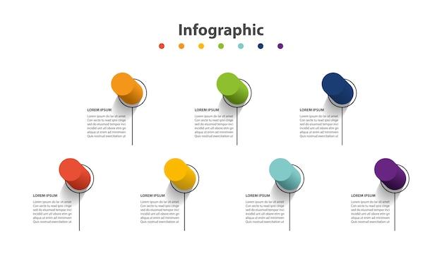 Apresentação de infográfico 7 etapas, círculo linear de infográfico